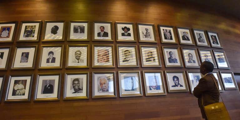 Les portraits de leaders africains au siège de l'Union africaine, à Addis-Abeba, en Ethiopie, le 27janvier 2018.