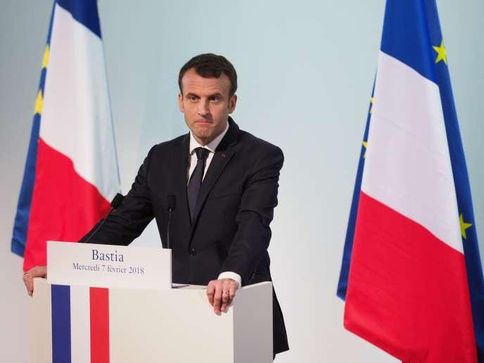 Discours d'Emmanuel Macron le 7 février à Bastia.