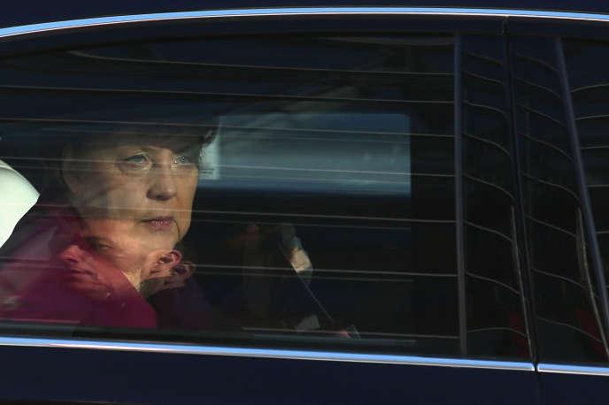 La chancelière allemande Angela Merkel à Berlin, le 6 février, lors de nouvelles discussions entre son parti, la CDU, et le SPD en vue de la formation du futur gouvernement.