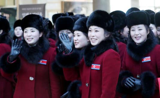 Des membres de la délégation de Corée du Nord arrivent à Inje, en Corée du Sud, le7février 2018.