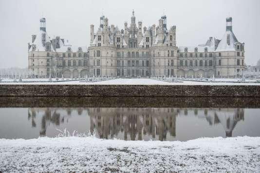 Le château de Chambord (Loir-et-Cher), après les chutes de neige du 6 février.