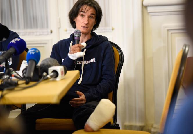 Elisabeth Revol, le 7février lors d'une conférence de presse à Chamonix.