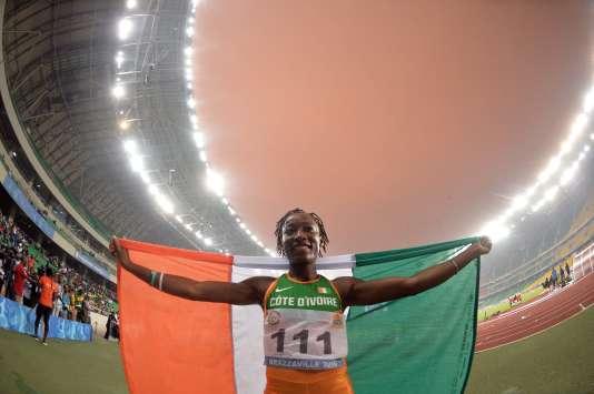 Marie-Josée Ta Lou lors des 11e Jeux d'Afrique, à Brazzaville, au Congo,en 2015.