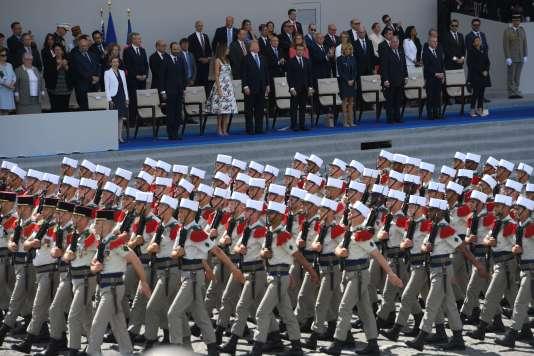 Donald Trump lors du défilé du 14-Juillet, en 2017 à Paris.