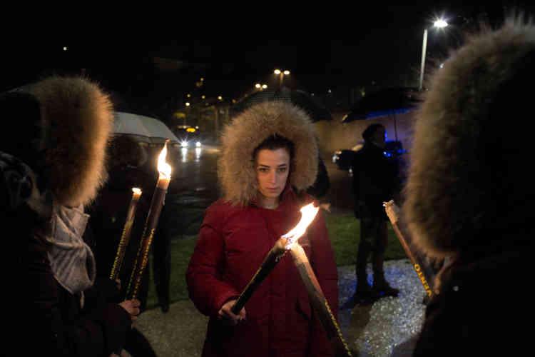 Pendant la marche « Una luce per Pamela » (« une lumière pour Pamela »), le 6 février.