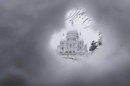 Le Sacré-Cœur, dans le 18earrondissement de Paris, s'est réveillé sous la neige le 7février.