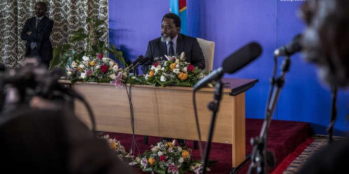Le président congolais, Joseph Kabila, lors d'une conférence de presse, le 26janvier 2018, à Kinshasa.