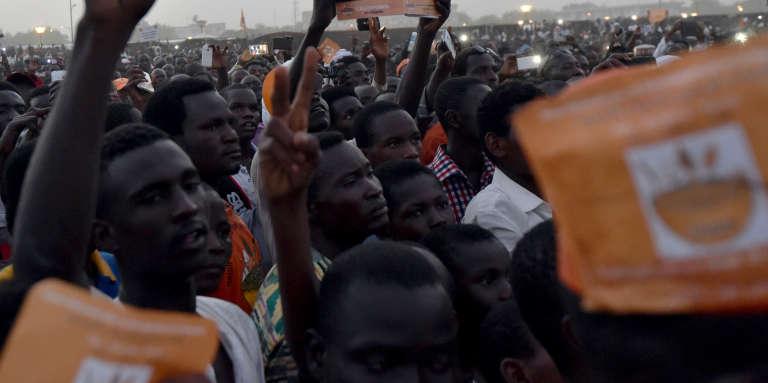 Lors d'un rassemblement de l'opposition à N'Djamena, au Tchad, en2016.