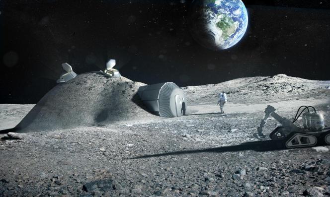 Vue d'artiste d'une partie du village lunaire imaginé par l'Agence spatiale européenne, faisant cohabiter robots et humains. Ces derniers devraient vivre dans un habitat enterré pour se protéger des éruptions solaires.