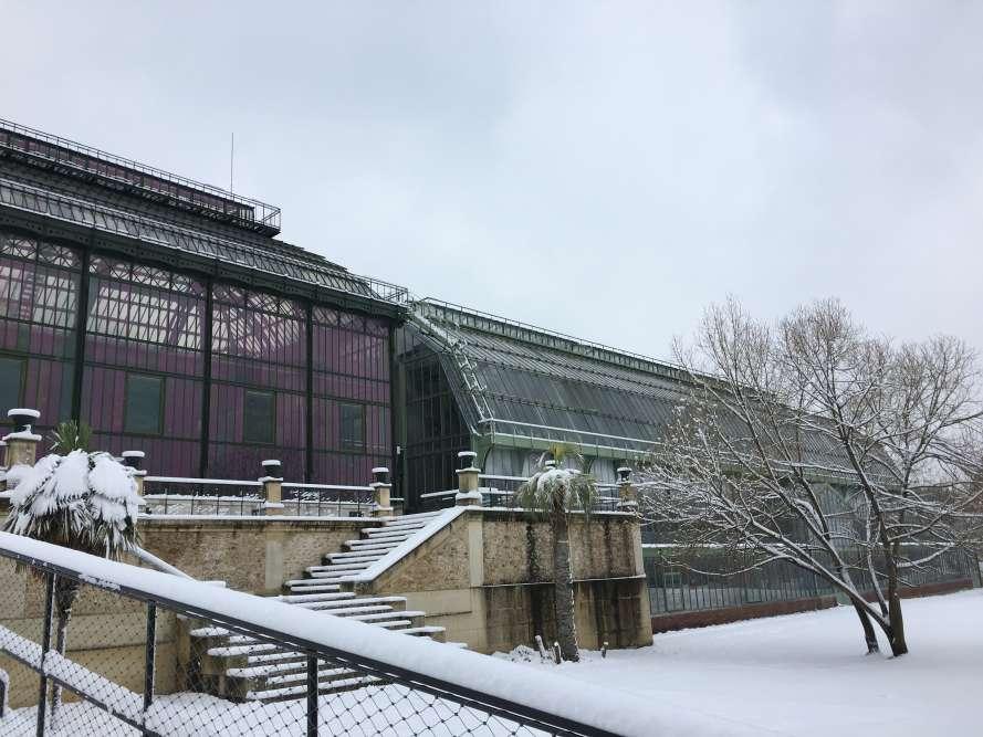 La serre de gauche, inaugurée en 1836 avec sa jumelle (hors photo) et restaurée depuis, était la plus haute de son époque, et est l'une des plus anciennes au monde encore debout.