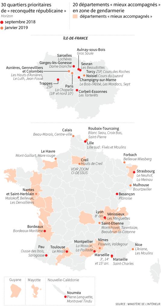 Les 30 quartiers prioritaires de «reconquête républicaine» et les 20 départements «mieux accompagnés» en zone gendarmerie.