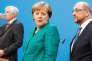 Horst Seehofer (CSU), Angela Merkel (CDU) et Martin Schulz (SPD) lors de leur conférence de presse commune, à Berlin, le 7 février.