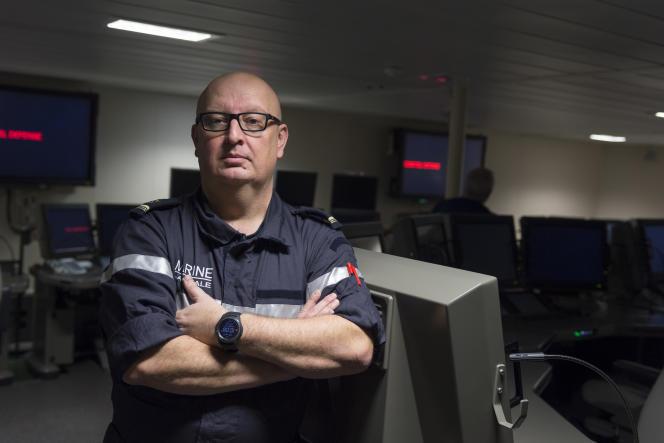 Le major Wilfrid, chef de secteur réseau à bord de la FREMM «Languedoc» à quai sur la base navale de Toulon le 1er février.