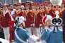 Les pom-pom girls nord-coréennes lors d'une cérémonie d'accueil au village olympique, à Gangneung (Corée du Sud), le 8 février 2018.