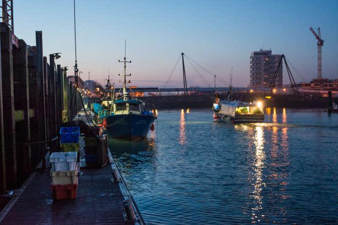 Le quai Gambetta dans le port de Boulogne-sur-Mer, jeudi 8 février au matin.