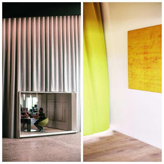 L'architecte Sevil Peach a imaginé des caissons de verre pour favoriser le dialogue entre les services. Et remplacé les murs par des rideaux signés Kvadrat.