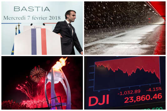 Macron en Corse, la neige en France, les Jeux olympiques et la baisse des cours de la Bourse : retour sur l'actualité de la semaine.