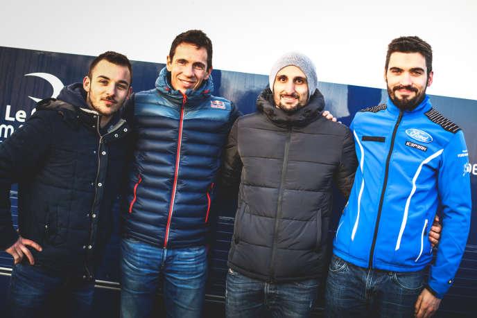 De gauche à droite : Kévin Parent, lauréat de la première promotion Rallye Jeunes FFSA copilotes ; Julien Ingrassia, quintuple champion du monde de rallye copilote ; Patrick Chiappe, second lauréat ; et Yannick Roche, suppléant, le 8 février à Saint-Germain-en-campagne (Eure).