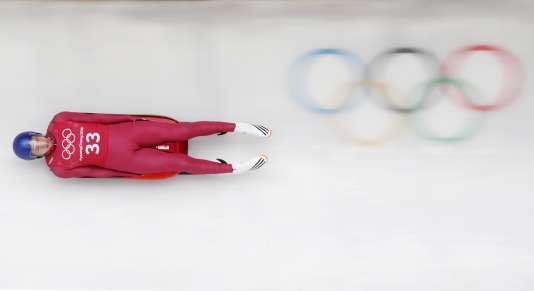 L'athlète russe Roman Repilov s'entraine à la luge, le 9 février àPyeongchang.