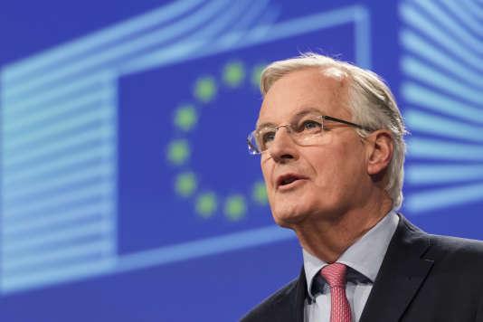 Conférence de presse de Michel Barnier, à Bruxelles, le 9 février.