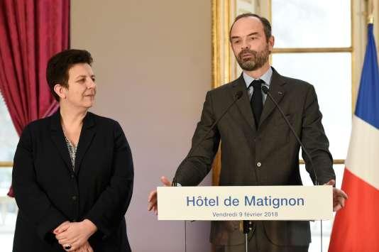 La ministre de l'enseignement supérieur, Frédérique Vidal, et le premier ministre, Edouard Philippe, lors de la présentation de la réforme de l'apprentissage, vendredi9février à l'Hôtel Matignon.