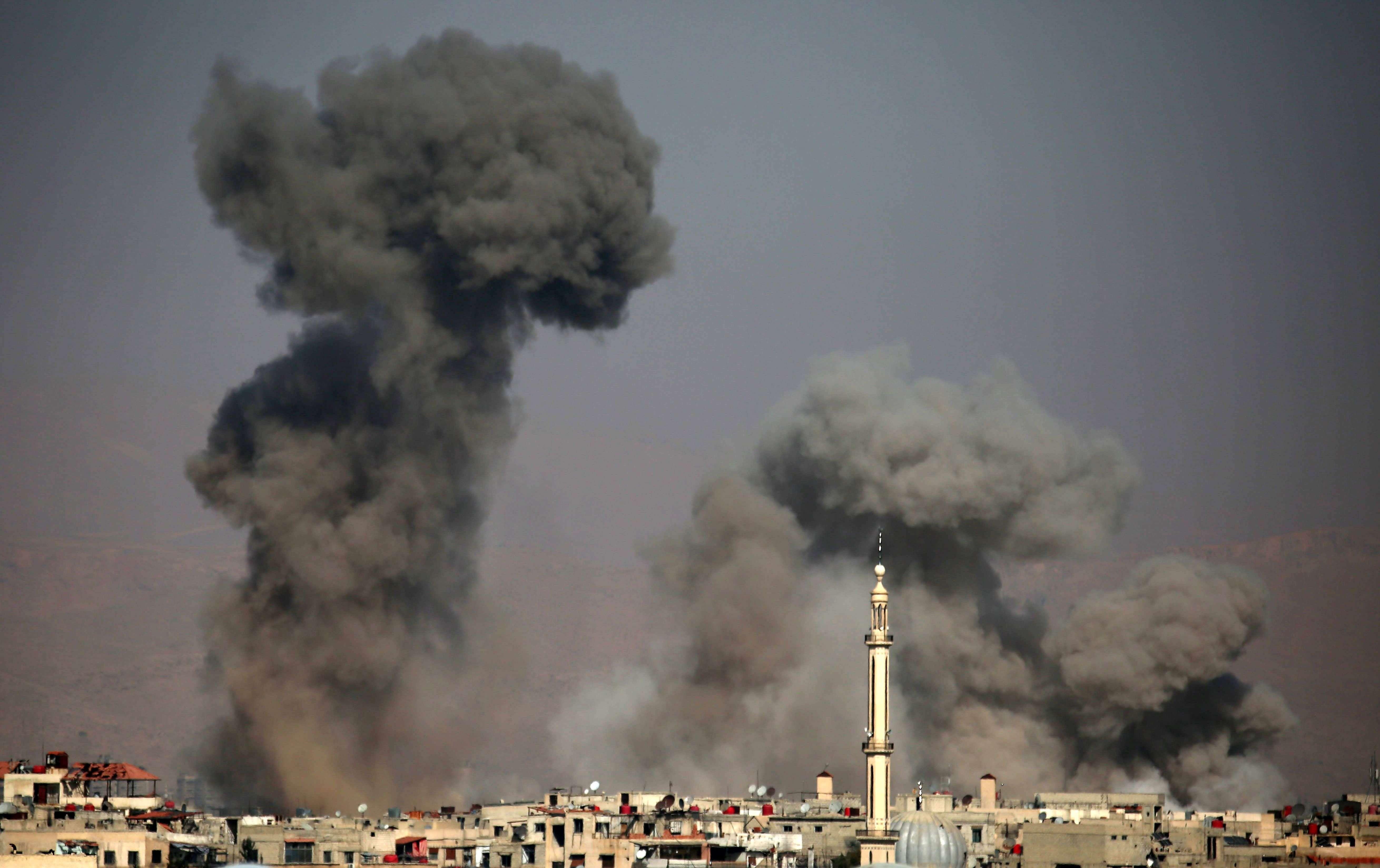 Une vue d'Arbin après une série d'explosions, le 7 février.