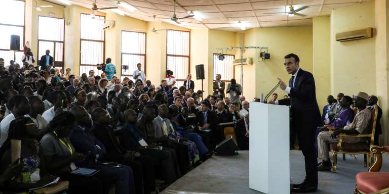 Le président français, Emmanuel Macron, à l'université de Ouagadougou, le 28novembre 2017.