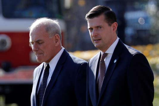 Rob Porter, secrétaire du personnel (à droite) et John Kelly, secrétaire général de la Maison Blanche, le 29 novembre 2017.