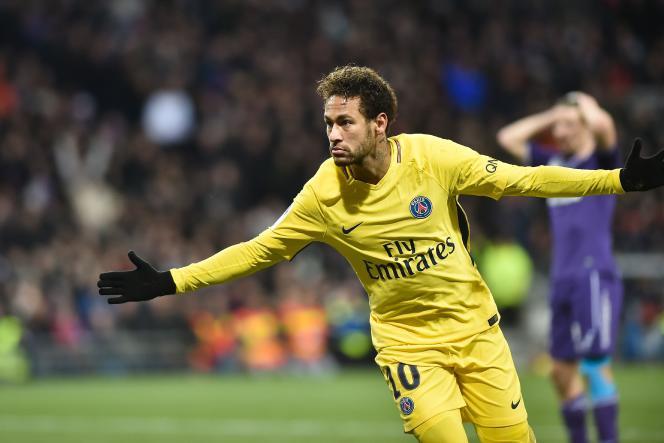 Le Brésilien Neymar après son but contre Toulouse, le 10 février 2018. AFP / REMY GABALDA