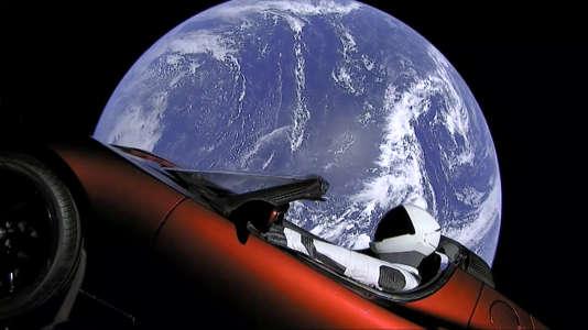 La Tesla envoyée dans l'espace par la fusée SpaceX d'Elon Musk, le 6 février.