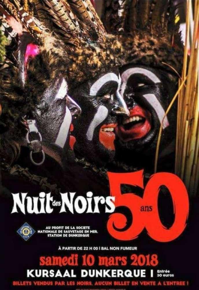 Affiche du bal« La Nuit des Noirs», organisé le 10 mars à Dunkezrque (Nord).