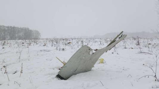 Des débris de l'An-148, qui s'est écrasé le11 février 2018 peu après son décollage de l'aéroport international de Moscou.