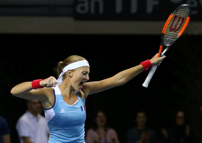 Kristina Mladenovic lors du quart de finale de Fed Cup, contre la Belgique, le 11 février 2018.