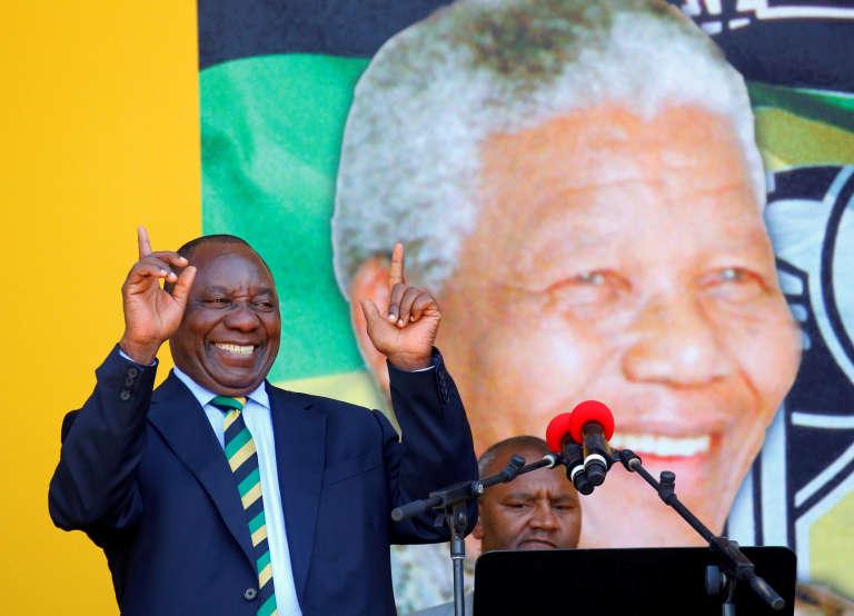 Cyril Ramaphosa lors de son discours de commémoration du centenaire deNelson Mandela, le 11 février.