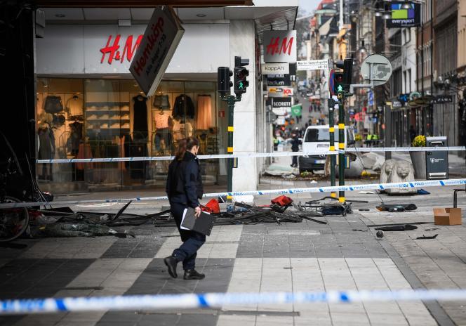 Stockholm (Suède) a été la cible d'une attaque au camion-bélier, le 7 avril 2017.