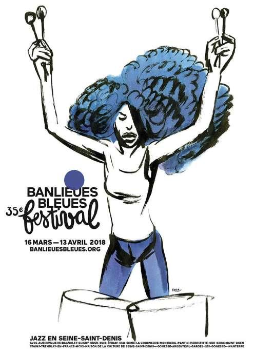 Affiche du festival Banlieues bleues, dessin Blutch.