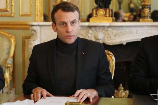 Emmanuel Macron, au palais de l'Elysée, le 9 février.