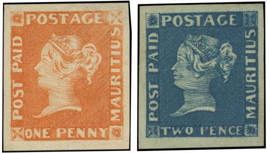 Compter au minimum 300 000 euros pour ces deux timbres de l'île Maurice, au catalogue de la vente Behr, clôturée le 8 mars.