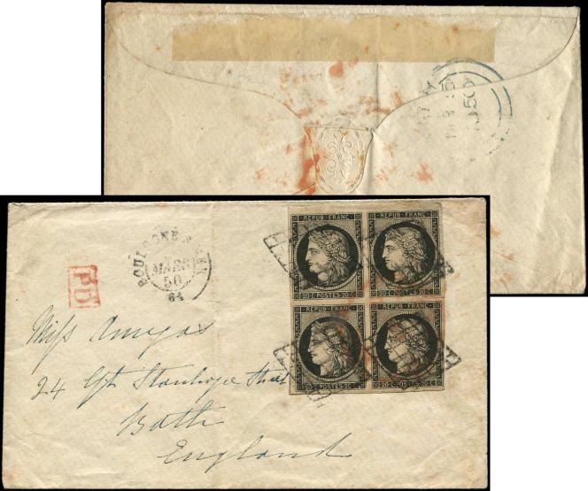 Bloc de quatre 20 centimes noir « Cérès » sur lettre au départ de Boulogne-sur-Mer, de mars 1850, pour l'Angleterre, 5750 euros (Vente Cérès philatélie clôturée le 28 février).