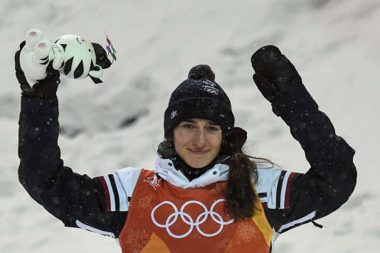 Perrine Laffont après sa victoire au Phœnix Snow Park de Pyeongchang, le 11 février.