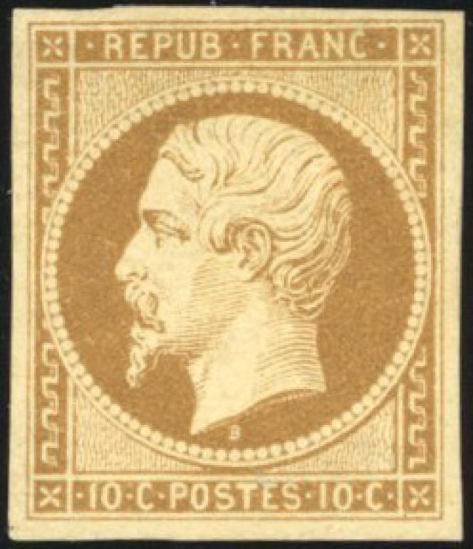 10 centimes bistre « Présidence » de 1852, neuf, prix de départ 35 000 euros (vente Behr, clôturée le 8 mars).