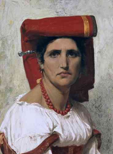 """«Cette peinture prépare une gravure intitulée """"Louisa"""" qui paraîtra en 1869 dans un recueil édité par la Maison Goupil et intitulé """"Types italiens"""". La jeune femme est vêtue du costume typique de Sonnino, une bourgade du Latium.»"""