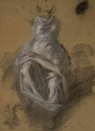 """«Cette imposante draperie est préparatoire à la figure de la Vierge dans """"La Vierge du Sacré-Cœur"""", tableau commandé à l'origine à Géricault. Le jeune Delacroix se montre ici très proche de Raphaël et Michel-Ange.»"""