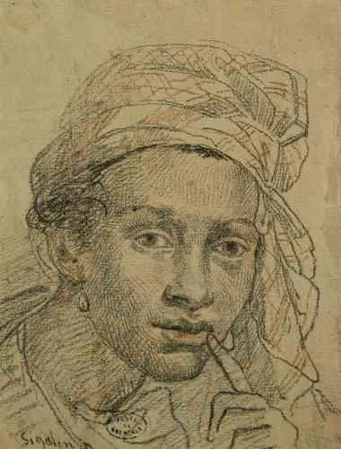 """«Le dessin de Grenoble est directement préparatoire à la figure de l'Antillaise, au second plan du tableau """"La Jeune Courtisane"""" que Sigalon présente au Salon de 1822.»"""