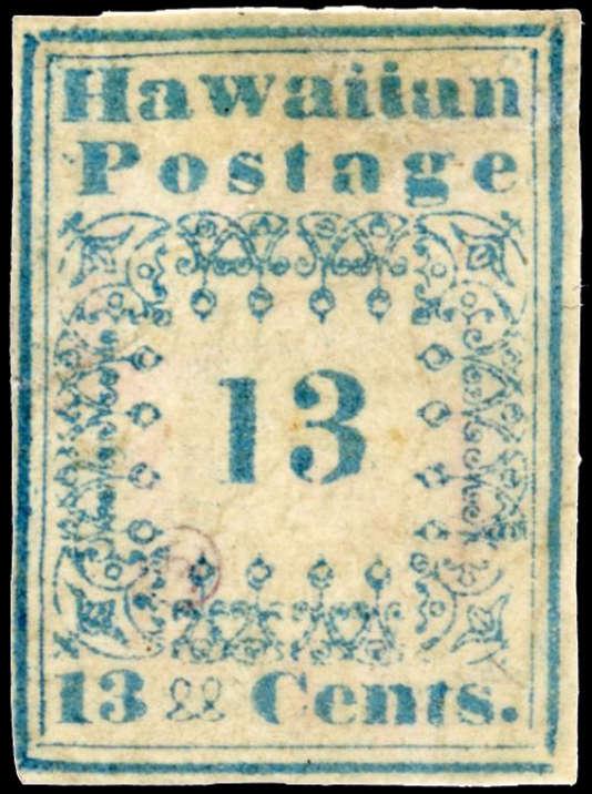 100 000 euros pour ce 13 cents d'Hawaï, dit de la série des « missionnaires », paru en 1851 (vente Behr, clôturée le 8 mars).