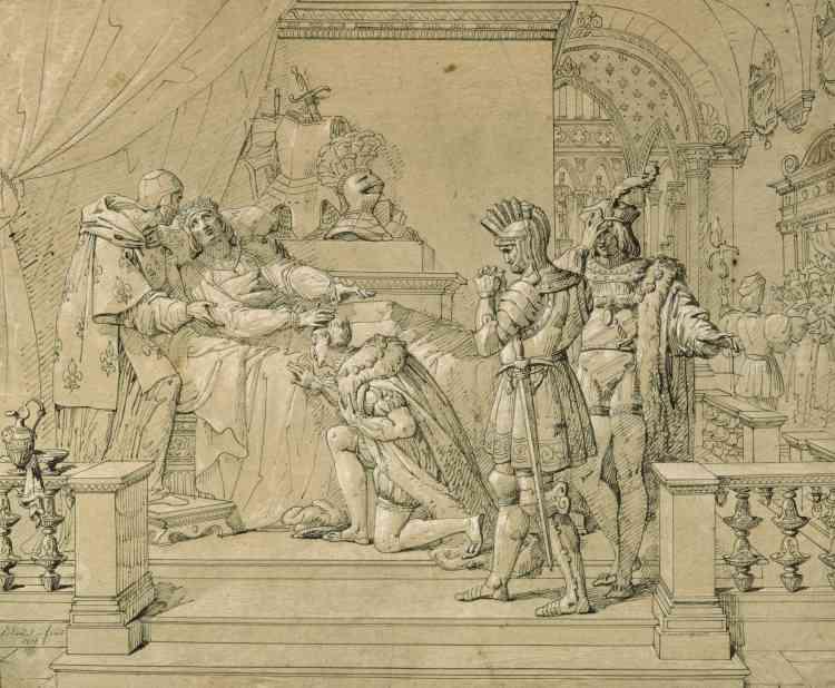 """«Ce dessin, représentatif du goût """"troubadour"""", est une étude très aboutie pour """"La Mort de Louis XII"""" ‒ surnommé le père du peuple‒ que l'artiste présente au Salon de 1817. On y voit le futur François Ier, recevant les instructions du roi, son beau-père.»"""