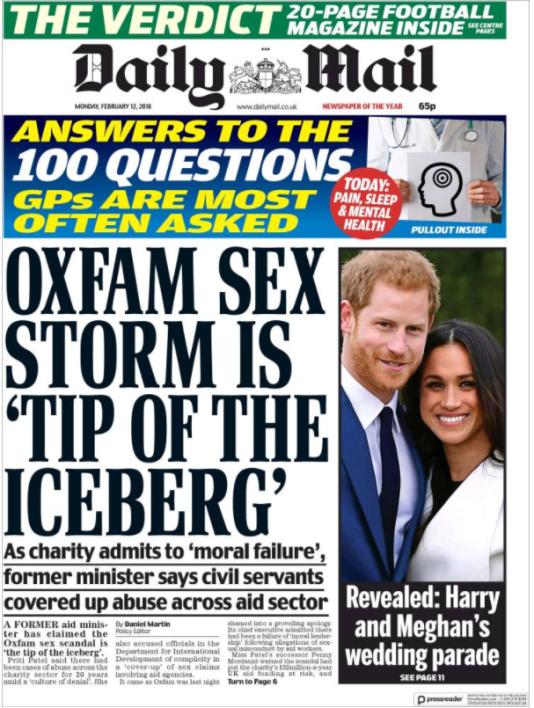 La «une»du «Daily Mail» du 12 février.