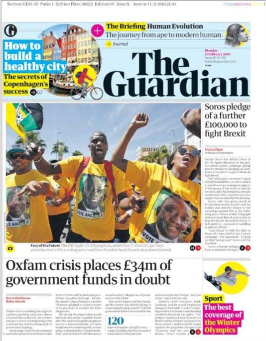 La « une » du « Guardian » le 12 février.