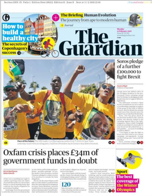 La«une» du« Guardian» le 12 février.