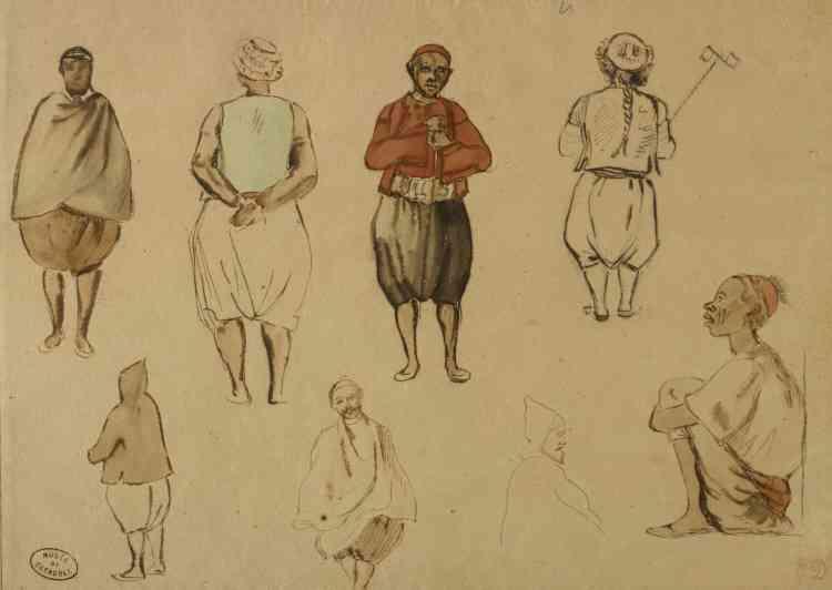 «Cette feuille d'études a été réalisée par Delacroix alors que celui-ci séjourne à Alger, entre le 25 et le 28 juin 1832. L'artiste croque rapidement ses modèles dans la rue, contre quelques pièces.»